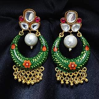 Indian Ethnic Chand Bali Earring Gold Tone Kundan Bollywood Pearl Women Jewellery