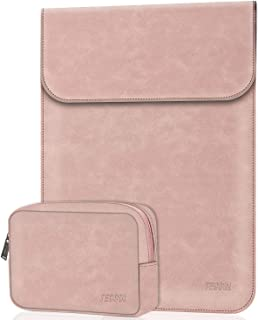 TECOOL 13-13.3 Pulgadas Funda Ordenador Portátil con Bolsa de Accesorios Cuero Bolsa para 2010-2017 Macbook Air 13 2012-2015 Macbook Pro 13, Matebook X Pro,ASUS ZenBook 14 UX433FA, Rosa