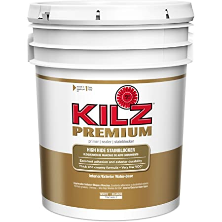 KILZ Premium High-Hide Stain Blocking Interior/Exterior Latex Primer/Sealer, White, 5 gallon