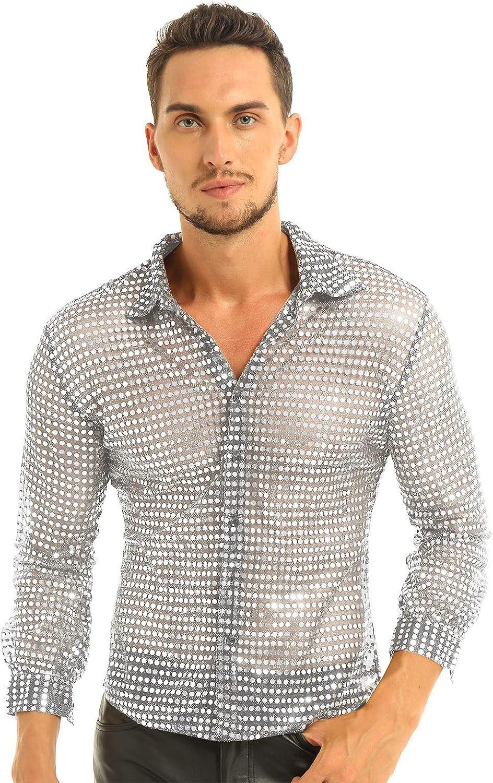inlzdz Oakland Mall Men's Shiny Sequins Dress Shirt Sleeve Max 78% OFF Long 7 Down Button