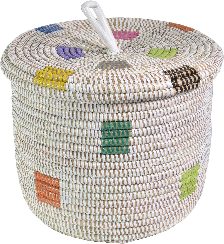 African Fair Trade Hand Manufacturer direct delivery Woven Lidded supreme Basket Pixels Prismatic