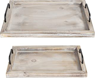 Besti Rustic Vintage Food Serving Trays (Set of 2) | Nesting Wooden Board with Metal..