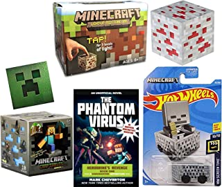 Hot Wheels Light Block Compatible with Minecraft Minecart Bundled Craftables buildable Figure Blind Box Character Figure + Light up Redstone Cube & Creeper Sticker + Journey Phantom Computer 4 Items