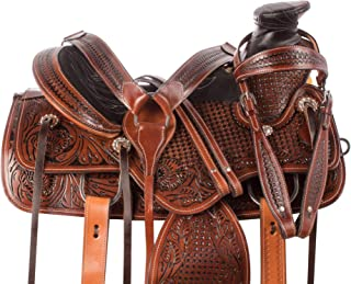 AceRugs Premium Cowhide Western Leather Roping Horse Saddle Ranch Work Big Pie Horn TACK Bridle Breastplate REINS