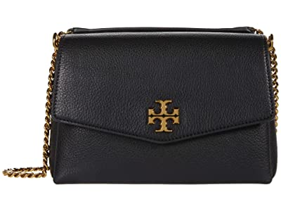 Tory Burch Kira Pebbled Small Convertible Shoulder Bag (Black) Handbags