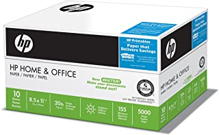 HP Printer Paper, Home & Office20, 8.5 x 11 Paper, Letter Size, 20lb Paper, 92 Bright, 5,000 Sheets / 10 Ream Carton (200510C) Acid Free Paper