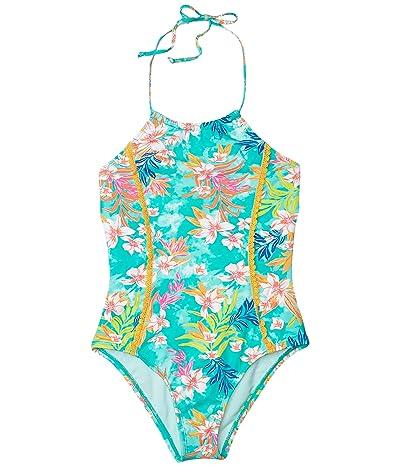Hobie Kids Tropical Tie-Dye High Neck One-Piece w/ Crochet (Big Kids) (Seabreeze) Girl