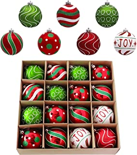 Valery Madelyn 16ct 80mm Classic Collection Splendor Red Green White Shatterproof Christmas Ball Ornaments Decoration,Themed with Tree Skirt(Not Included)