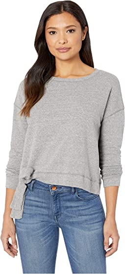Heathered French Terry Tie Front Long Sleeve Boxy Pullover