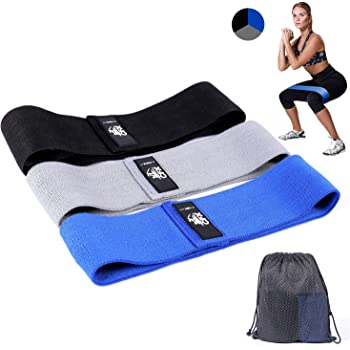 CHwares Resistance Bands for Legs and Butt,Resistance Loop Bands Exercise Bands Hip Bands Fabric Booty Bands Activate Glutes and Thigh Workout Bands Pack of 3