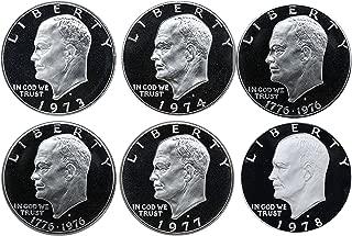 1973 S 1974 1976(T1) 1976(T2) 1977 1978 Eisenhower Ike Dollars Gem Proof Run 6 Coins US Mint Clad Lot Complete Set Proof
