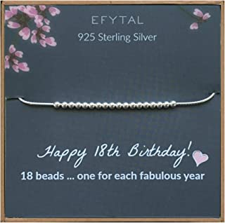 18th Birthday Gifts for Girls, 925 Sterling Silver Bracelet, 18 Beads for 18 Year Old Girl, Jewelry Gift Idea