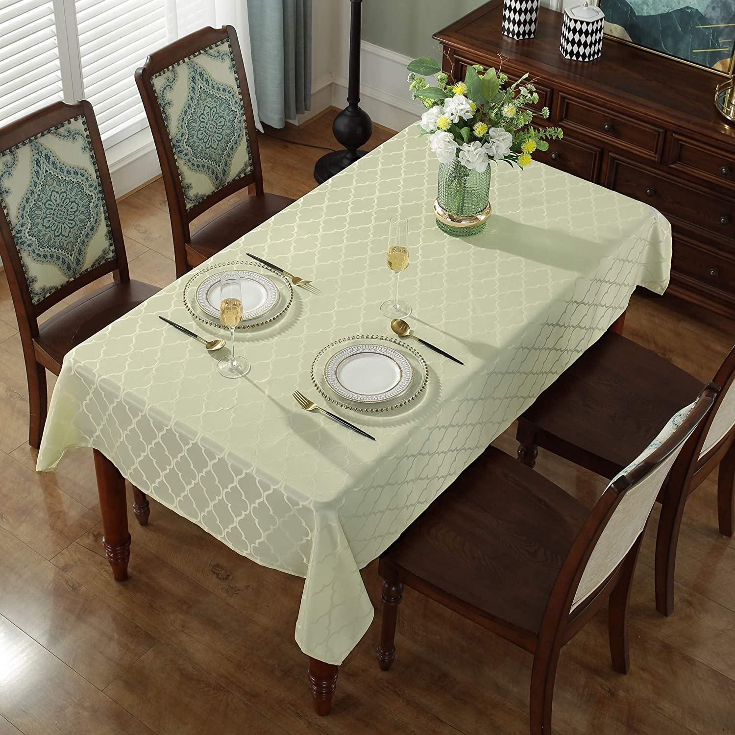 Rectangle//Oblong,132 x 182 , Gold SASTYBALE Jacquard Tablecloth Flower Pattern Polyester Table Cloth Spill Proof Wrinkle Resistant Soft Table Cover for Kitchen Dinning Tabletop Decoration 4-6 Seats