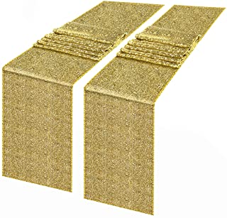 Syntus Sequin Table Runner Gold, 2 Pack 12 x 72 inch Glitter Gold Table Runner Rectangle Glitter Gold for Graduation Party Supplies Decorations Wedding, Birthday & Baby Shower