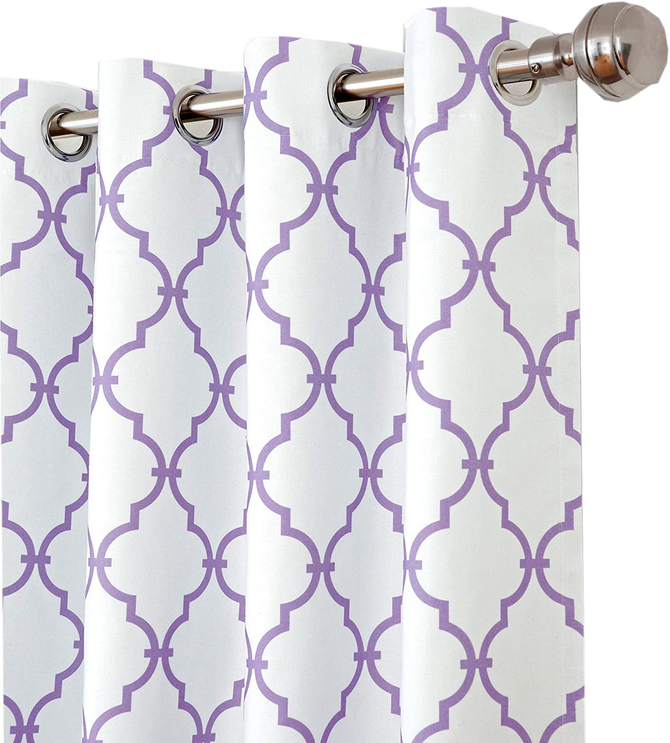 Candice Kids Pastel Lattice Print Blackout Room Darkening and Thermal Insulating Window Curtain   Juvenile Single Lined Grommet Top Panel by Elrene, 52 Inch Wide X 95 Inch Long, Purple