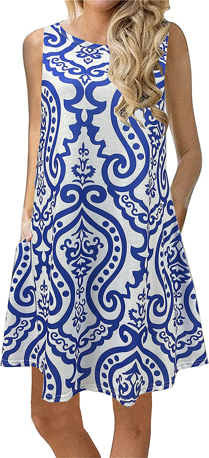 Summer Casual Tshirt Dresses for Women Swing Sun Dress Beach Swimsuit Cover Ups with Pockets
