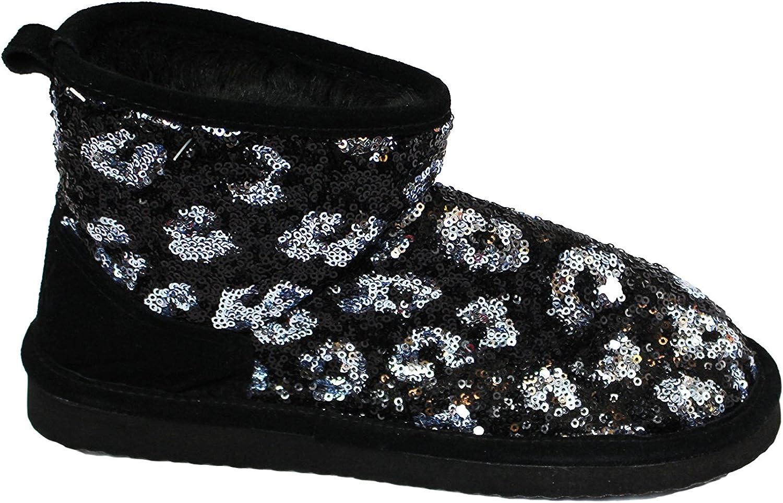 Victoria's Secret Black Sequence Furry Boots (medium 7-8)