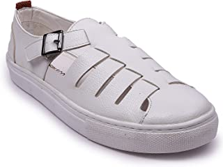 Andrew Scott Men's White Leather Sandals