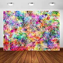 7x5ft Graffiti Brick Wall Birthday Photography Backdrops Baby Shower Colorful Urban Street Art Background for Photography Vinyl Photo Booth Props Party Banner