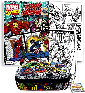 Marvel Avengers Pencil Case and Coloring Book - Hard Shell Molded Zippered Pencil Storage Case, Pencil Box, Organizer Pouch Bag with Coolest Superhero Comics Heroic Coloring Activity Art Book