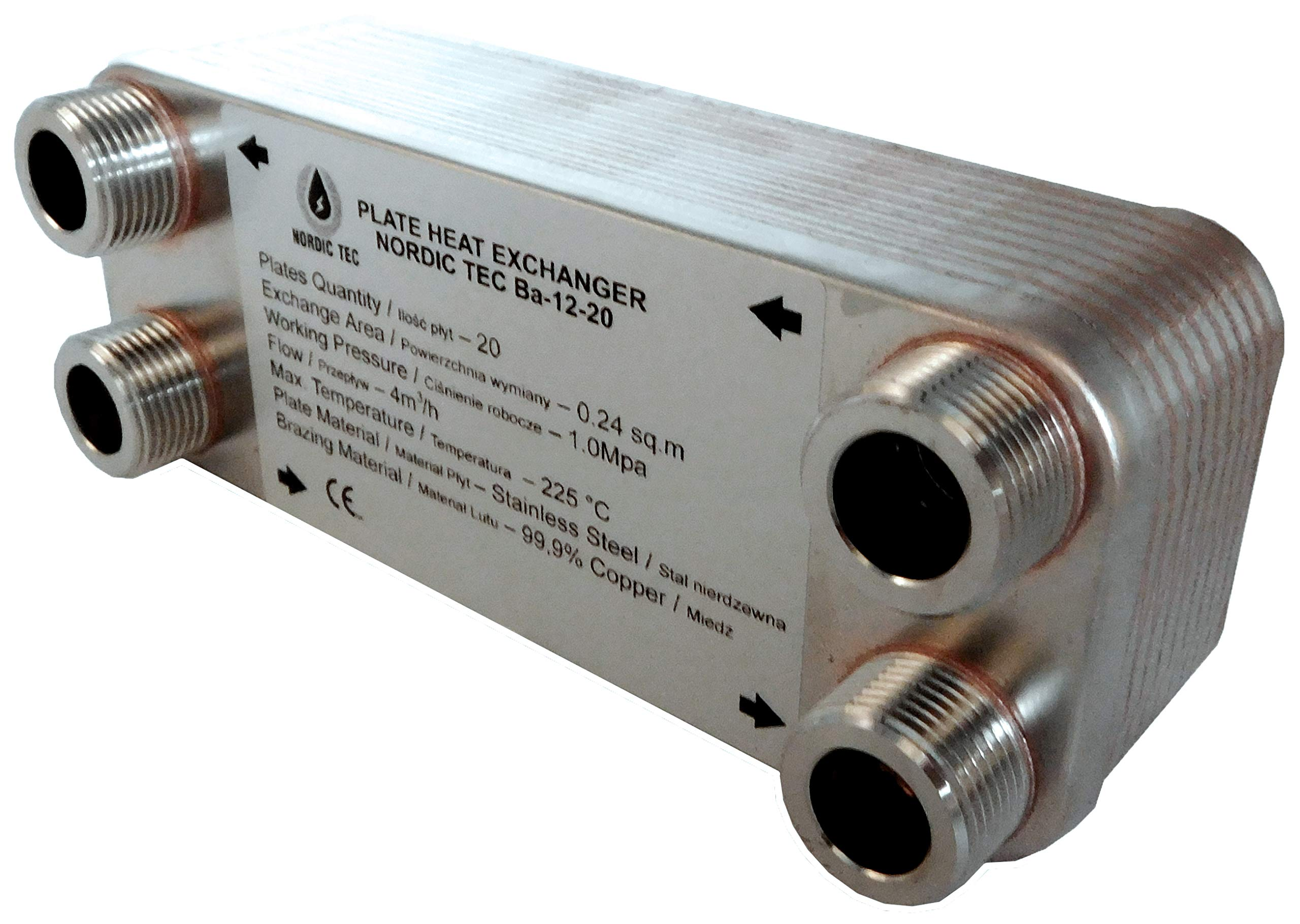 45 kW 3//4 y 1//2 pulgadas Intercambiador de calor de placa de acero inoxidable Nordic Tec Ba-12-20 20 placas