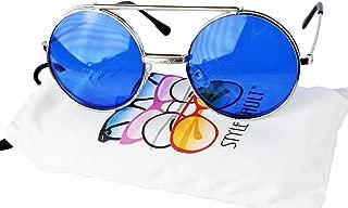 V135-vp Style Vault Round Flip up Django Steampunk Metal Sunglasses