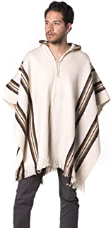 Gamboa - Hooded Alpaca Poncho - White with Stripes and Fringes