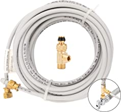 """PEX Ice Maker Installation Kit – 25 Feet of Tubing For Appliance Water Lines With Stop Tee For Quick Installation, 1/4"""" Compression Fittings, Flexible Hose For Potable Drinking Water"""