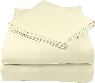 Whisper Organics 床单,有机纯棉床单,500 支,4 件套:床笠,床单 + 2 个枕套 天然 加州King size