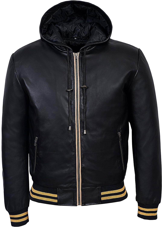 Smart Range Men's Baseball Stripe Alternative dealer Leather Jacket Genuine Super intense SALE Hooded