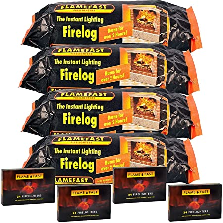 CASE 12 FLAMEFAST INSTANT-LIGHT SMOKELESS FIRE LOG BURNS FOR 2-3 HOURS by Flamefast