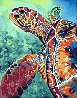 RICUVED DIY Oil Painting Acrylic Paint by Number Painting Kit for Adult Canvas Painting Home Decoration Sea Turtle 16x20inch
