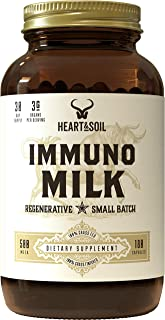 Heart & Soil Immunomilk Supplement — Grass Fed Colostrum to Support Gut and Immune Health (180 Capsules)