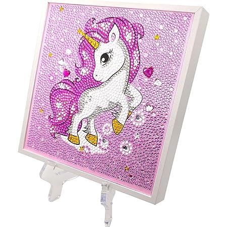 5D diamant peinture licorne diamant peinture avec cadre en bois et support pour enfants de 14 ans, cadre en bois et support avec outils de peinture de diamants (19 * 19 cm)
