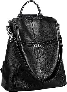 Real Leather Backpack Women's Convertible Versatile Shoulder Bag (Upgraded 2.0) Black