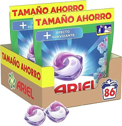 TALLA 86 Lavados. Ariel Pods Detergente Lavadora Cápsulas, 86 Lavados (Pack 2 x 43), Efecto Suavizante, Fragancia Intensa
