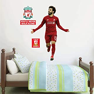Official Liverpool FC - Mo Salah Goal Celebration Player Decal + LFC Wall Sticker Set Print Mural Vinyl Decal (120cm Height)