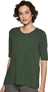 Amazon Brand - Symbol Women's Solid Regular Fit 3/4 Sleeves T-Shirt