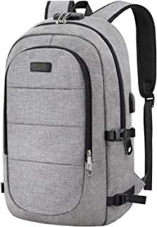 Travel Laptop Backpack, AMBOR 15.6-17.3 Inch Anti Theft Business Backpack with USB Charging Port and Headphone Interface,Large Computer Backpack School Daypack Backpack for Women and Men-Grey