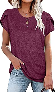 UNIQUEONE Womens Summer Short Sleeve Blouses Tunic Tops Button Loose Fit Casual T-Shirt
