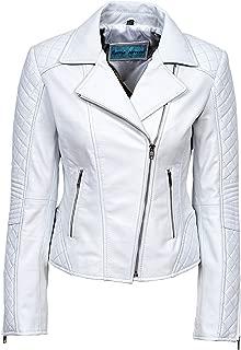 Smart Range Ladies Jessie White Stylish Fashion Designer Quilted Soft Real Leather Jacket