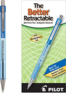 PILOT The Better Ball Point Pen Refillable & Retractable Ballpoint Pens, Medium Point, Blue Ink, 12-Pack (30006)