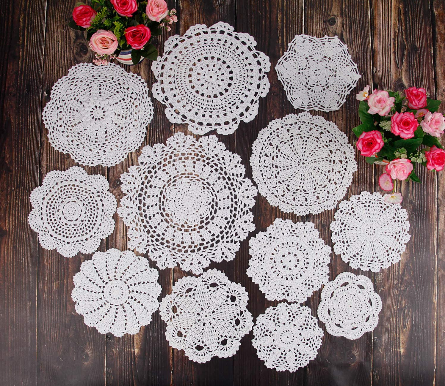 Max High order 72% OFF TOSEEY 12Pcs Handmade Crochet Doilies inches 5-12 White Be Round