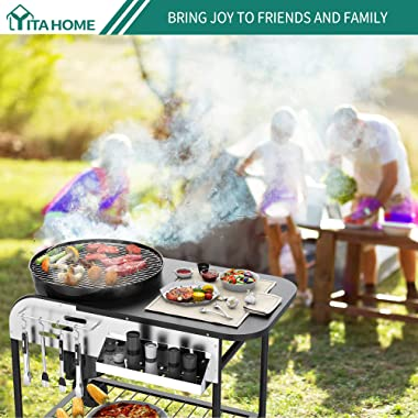 YITAHOME 22''Charcoal Grill Portable Kettle Grill BBQ Grill with Side Shelves Thermometer Air Vent Ash Catcher Wheels for Bac