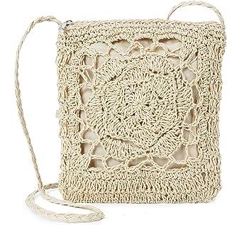 JOSEKO Stroh Crossbody Tasche, Damen Umhängetasche Sommer Strand Vintage Handarbeit Einkaufstasche Woven Handtasche Frauen...