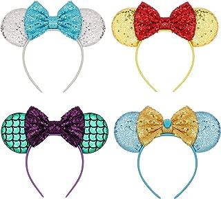 Mouse Ears Bow Headbands Glitter Princess Party Decoration Belle Cinderella Jasmine Mermaid Minnie Ears Headband for Girls