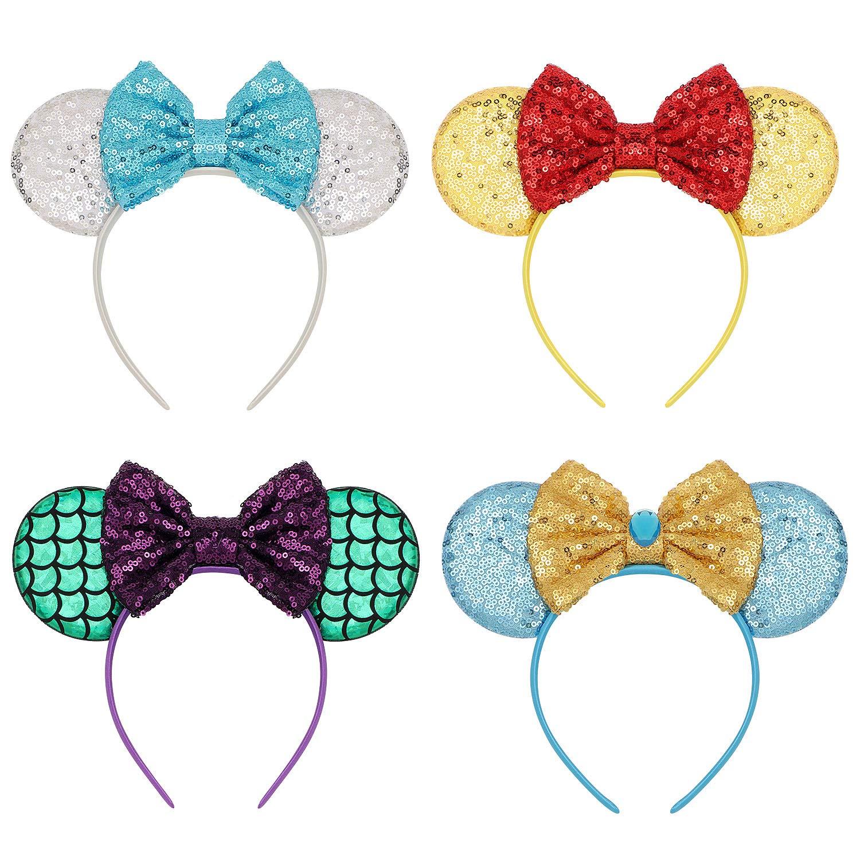 Fashion Sequin Bow Mickey Minnie Mouse Hairband Girls Disney Party Ears Headband