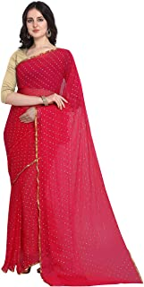 Anni Designer Women's Red Chiffon Printed Saree With Blouse Piece (GRAGI RED_Free Size)