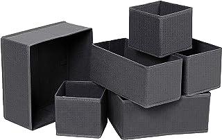 Qisiewell Lot de 6 boîtes de rangement pour sous-vêtements - Tiroirs de penderie - Pour chaussettes et cravates - Gris foncé