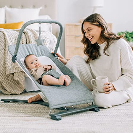 Baby Delight Alpine Deluxe Portable Bouncer, Charcoal Tweed , 28x18x21 Inch (Pack of 1)